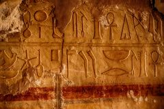 Free Hieroglyph In Temple Of Queen Hatsepsut Royalty Free Stock Image - 135692366