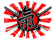 Hieroglyph ki. Vector illustration crossed samurai swords and hieroglyph ki Stock Photos