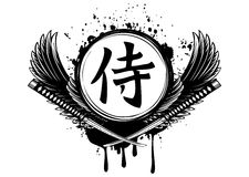 Hieroglyph samurai, wings and crossed samurai swords Stock Photography