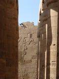 Hieroglyph wall & pillar. Ancient hieroglyph wall and pillars in Luxor Stock Photo