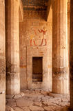 Hieroglyph walls and stone pillars in Queen Hatshepsut temple, E. Hieroglyphs on stone walls and stone pillars in Queen Hatshepsut temple, Egypt Royalty Free Stock Photo