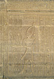 Hieroglyphic carving in Kom Ombo temple. Hieroglyphic carving with pharaoh figure in Kom Ombo temple stock photo