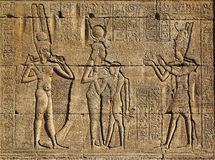 Hieroglyphic carvings in ancient egyptian temple Royalty Free Stock Photography