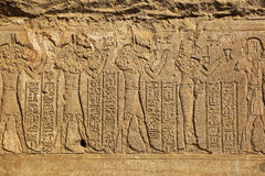 Hieroglyphic carvings in ancient egyptian temple Royalty Free Stock Images