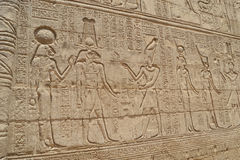 Hieroglyphic carvings in an Egyptian temple wall Stock Image