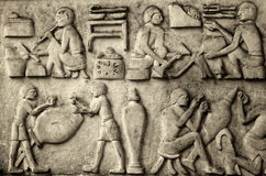 Hieroglyphic. Carvings on the exterior walls of an ancient egyptian temple Royalty Free Stock Image