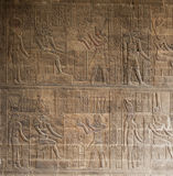Hieroglyphic Carvings On An Egyptian Temple Wall Royalty Free Stock Image
