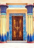 Hieroglyphic carvings and paintings on the interior walls of an Royalty Free Stock Photo