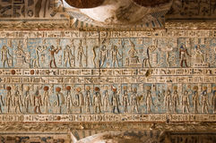 Hieroglyphic Ceiling, Dendera Temple, Egypt. Carved and painted gods of Ancient Egypt.  Ceiling at Dendera Temple, near Qena, Egypt Royalty Free Stock Images