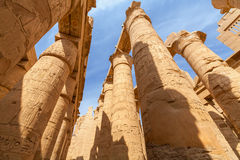 Karnak Temple in Luxor. Egypt. Hieroglyphic covered columns in the Hypostyle Hall. Karnak Temple, Luxor, Egypt stock image