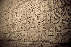 Hieroglyphic Journal. Hieroglyphic writing on the wall of Luxor Temple Stock Photography