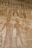 Hieroglyphic paintings at Medinat Habu Temple Royalty Free Stock Photography