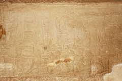 Hieroglyphic on stone. Hieroglyphic on wall stone in egyptian temple Stock Photo