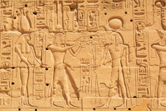 Hieroglyphic on the wall of Karnak temple Stock Photography