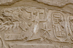 Hieroglyphic writing with Kings cartouche, Karnak Royalty Free Stock Images