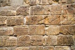 Hieroglyphics στον παλαιό τοίχο Στοκ εικόνα με δικαίωμα ελεύθερης χρήσης
