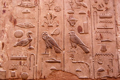 Hieroglyphics. Ancient Egyptian hieroglyphics carved into stone at the Temple of Luxor in Egypt Stock Photo