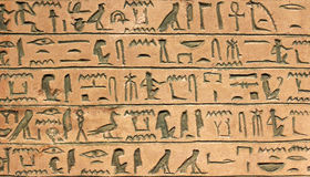 Hieroglyphics. Ancient egyptian hieroglyphics on the wall Stock Photo