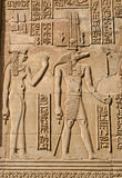 Hieroglyphics. On the wall of Temple of Kom Ombo, Egypt Stock Photo