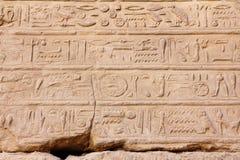 Hieroglyphics antigos de Egipto no templo do karnak Fotografia de Stock