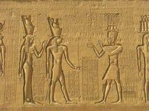 Hieroglyphics egiziani intagliati pietra antica Fotografia Stock