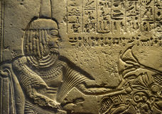Hieroglyphics engraves on stone Stock Images