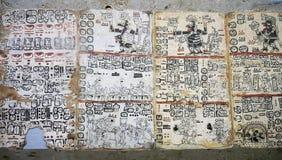Hieroglyphics at the Museo del Mundo Maya in Merida Mexico. Mayan hieroglyphics on display at the Museo del Mundo Maya in Merida Mexico Royalty Free Stock Images