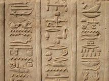 Hieroglyphics no templo de Kom Ombo, Egipto Imagem de Stock