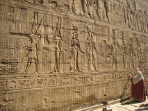 Hieroglyphics on the wall of Temple of Edfu. Egypt Royalty Free Stock Images