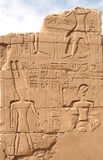 Hieroglyphics on the wall in the Temple of Karnak Stock Image