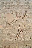 Hieroglyphische Carvings auf einer ägyptischen Tempelwand Lizenzfreies Stockbild