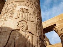 Hieroglyphs ναών Ombo Kom από τη δυναστεία Ptolemy Ο ναός είναι επίσης γνωστός ως ναό κροκοδείλων ή ναός Sobek στοκ φωτογραφία