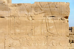 Hieroglyphs in Karnak, Egypt Royalty Free Stock Images