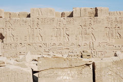 Hieroglyphs , Karnak Temple , Luxor , Egypt. Ruins with hieroglyphs Karnak temple Amun-re , Luxor, Egypt royalty free stock photos