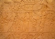 Hieroglyphs on the wall stock image