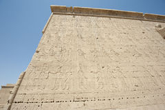Hieroglypic carvings on an egyptian temple Royalty Free Stock Image
