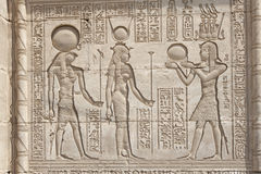 Hieroglypic carvings on an egyptian temple Royalty Free Stock Images
