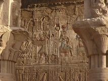 Hieroglyps on Edfu temple. Hieroglyps and cartouches on Edfu temple, Egypt, Africa stock image