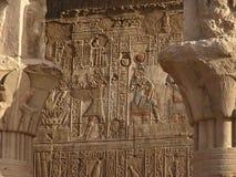 Hieroglyps sur le temple d'Edfu Image stock
