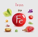 Hierro en comida Productos orgánicos naturales con un alto contenido del hierro stock de ilustración