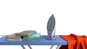 Hierro moderno en el tablero que plancha cerca de las cosas planchadas en la pila 3d rendir en blanco libre illustration