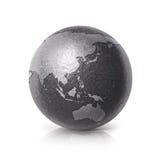 Hierro negro Asia y ejemplo del mapa del mundo 3D de Australia Foto de archivo