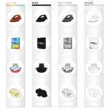 Hierro para planchar, detergente, espuma en un cuenco, jabón de retrete Iconos determinados de la colección que se lavan y de lim Fotografía de archivo libre de regalías