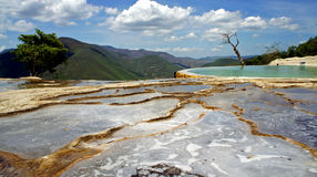 Hierve el Agua. Calcified mineral puddles formed by water bubbling from springs at Hierve el Agua in Oaxaca Mexico Stock Photo