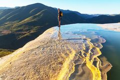 Hierve el Agua. Natural rock formations in the Mexican state of Oaxaca royalty free stock images