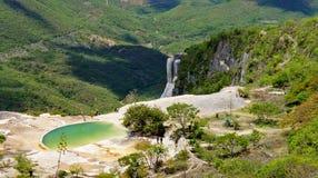 Hierve el Aqua, Oaxaca, Mexico. Hierve el Aqua is a famous attraction in Oaxaca Mexico. Calcified mineral waterfall Stock Image