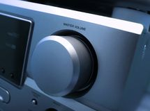 Hifi. Detail of a hifi amplifier in blue tone royalty free stock photos