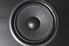 Hifi black loud speaker box in close up.Professional audio equipment. For dj,musician,party. High quality sound recording studio equip.Focus on hi-fi diffuser royalty free stock photography