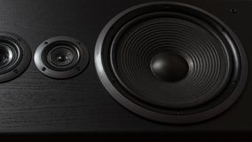 Hifi black loud speaker box in close up.Professional audio equipment. For dj,musician,party. High quality sound recording studio equip.Focus on hi-fi diffuser royalty free stock images