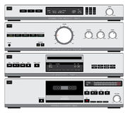 HiFi components vector. Vector illustration of stylized Hi Fi components: tuner, amplifier, CD player and tape deck Stock Photos